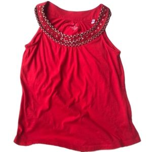 Sonoma tank top with embellished neck line, size M